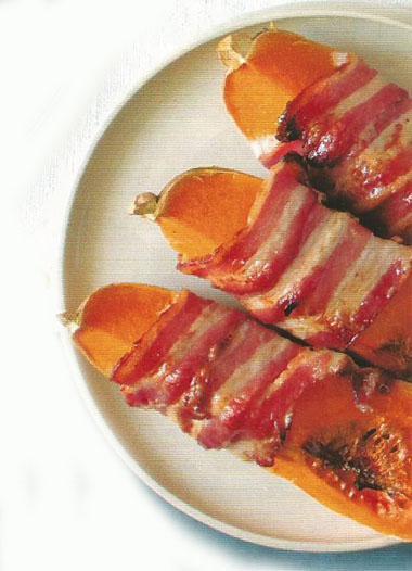 Bacon-wrapped butternut