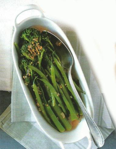 Pickled green beans and broccoli