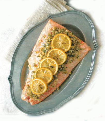 Salmon with almond crust and caramelised lemons