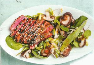 Seared tuna salad with sesame and shiitake mushrooms, Asian leaves and nam jim dressing