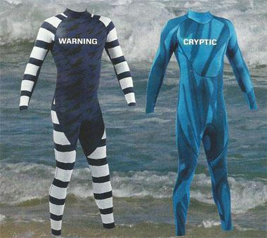 Warning. Suitable for surfers and swimmers, the highly visible striped warning pattern has been designed to present the wearer as unlike any shark prey as possible - even as an unpalatable or dangerous food option. Cryptic. This makes it difficult for the shark to see the wearer by using disruptive coloration and shaping. The patterns used are not only difficult for the shark to see, but are also designed to biend in with the background colours - effectively making this option a sort of invisibility cloak for scuba divers or snorkellers.