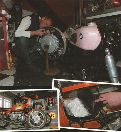 De Villiers works on his latest project, an R60/2 from the late Fifties. BMW's 1976 model R90s won the first AMA Superbike Championship in 1976. When De Villiers acquired the bike, it was in such good condition that the original first aid kit was still intact.