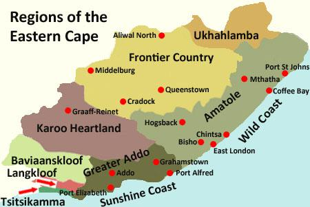 Map of Eastern Cape Regions