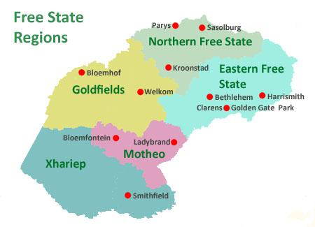 Map of Free State Regions