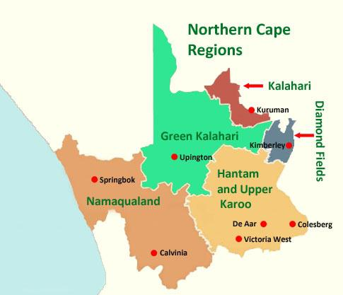 Map of the regions of the Northern Cape Province