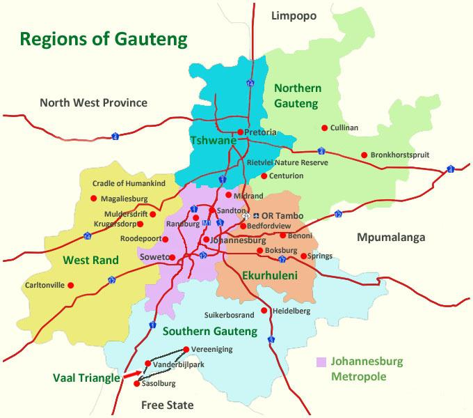 Map of Gauteng Regions