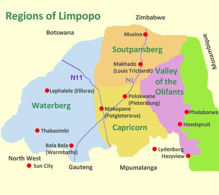 Map of Regions of Limpopo Province