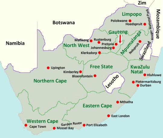 Map of the provinces of South Africa