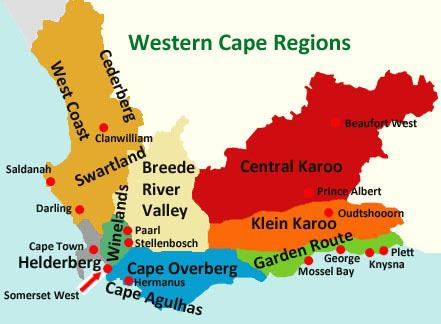 Map of the regions of the Western Cape Province