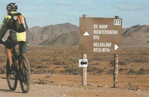 A cyclist follows the route from the Orange River to De Hoop and Hakkiesdoring in the Richtersveld.