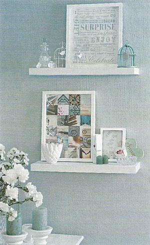 Floating shelves hold collectables