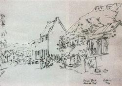 One of the beautiful pen and ink sketches of life in Somerset East by Walter Battiss.