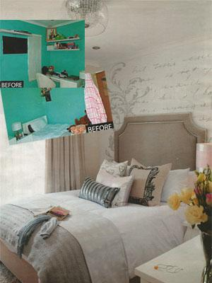Before and after : This bedroom was cramped with outdated turquoise walls, impractical shelving and no comfortable study area.