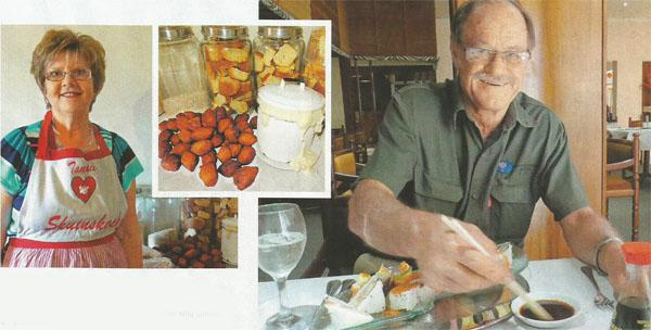 The famous Tannie Skuinskoek. INSET: In among the skuinskoeke and rusks, the dough mixture rises in its tub. RIGHT: Dick Venter of Kakamas is the sushi pioneer who opened the first sushi bar in the Northern Cape.