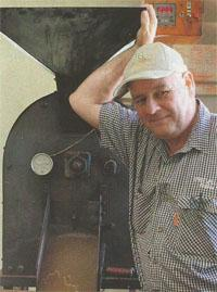 Tim with his famous home-made roasting machine.
