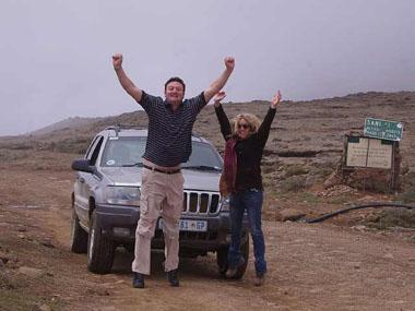 Antony English and Lizette Kriel celebrate conquering Sani Pass in Freedom1