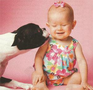Don't let the dog lick the baby
