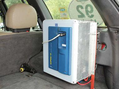 The modified inverter converts the batteries 600 V DC current to 3-phase 380 V AC