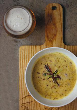 Craft beer and Heales' s Cheddar soup