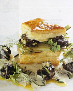 Flash-fried escargots and braised fennel on puff pastry with Pernod Beurre Blanc