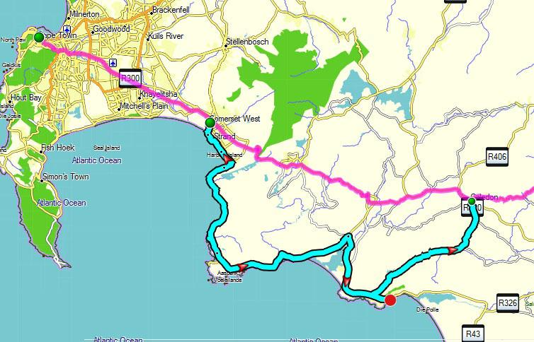 Map Of Route 62 South Africa.South Africa Blog Archive Self Drive 1 Route From Cape Town To
