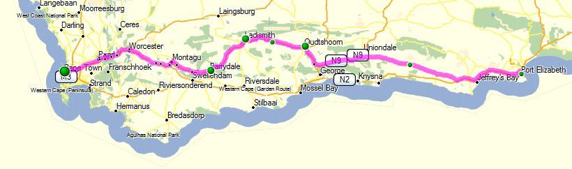 Map Of Route 62 South Africa.South Africa Blog Archive Self Drive Route 2 From Cape Town To