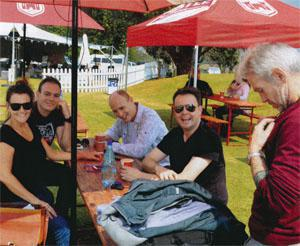 In the grounds of Hilton College, well-known KZN theatre personalities Lisa Bobbert, Ben Vos, Aaron Mcllroy and John van de Ruit take instructions from Hilton Arts Festival's technical manager, Mike Broderick