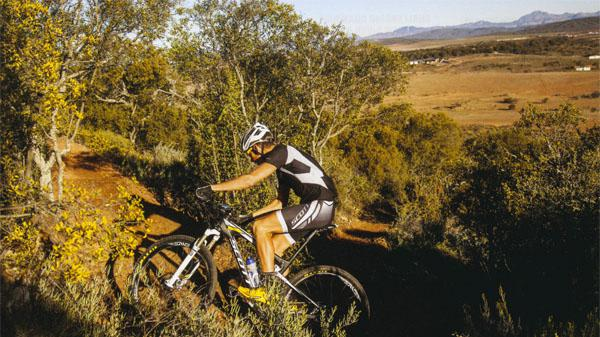 Matthys test-rides the lung-buster of a switchback climb at Cango MTB.