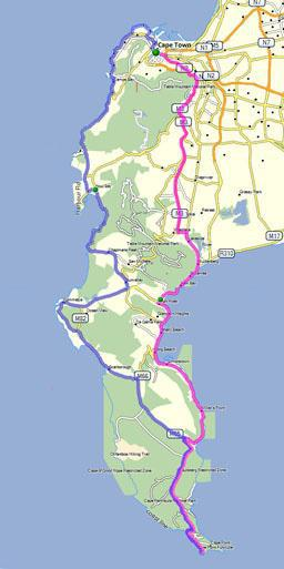 Motor Bike Route from Cape Town to Cape Point small