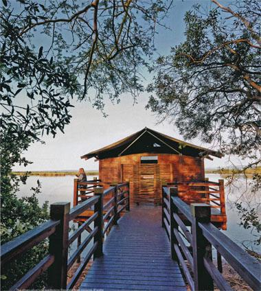 The observation hide overlooking Ensumo huge expanse of water, haven to a huge variety of water birds, crocodiles and hippos