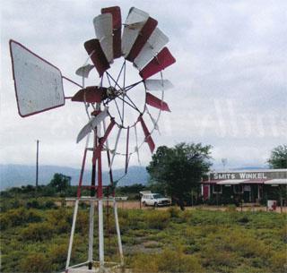 A windmill signals Karoo delights at Smits Winkel outside Oudtshoorn.