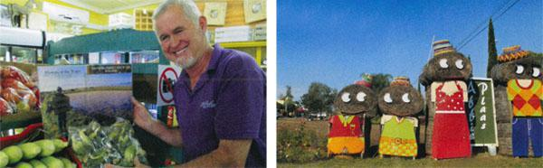 Affie Plaas owner Louis van Koppenhagen started off selling apricots beside the road and his farm stall is now a popular destination.  The cutesy straw-bale family stand guard in the car park at Affie Plaas.