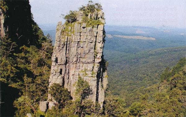 Pinnacle Rock protrudes from the surrounding escarpment