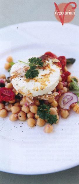 Warm salad of chickpeas, chilli, feta and garlic