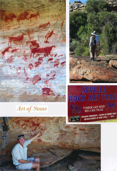 Bleeding Nose is a shamanic site in Bushmans Kloof. It's thoughtto have been a shaman's place of power, with deep red ochre paintings that remain in excellent condition. It's suggested the rubbed look of some images is the result of the shaman drawing power from them.  Magnificent scenic walks take you to the various rock art sites on Bushmans Kloof, very often along water courses. The San chose beautiful surroundings for their galleries. Clear directions of what to do, if you want to hike the Sevilla Rock Art Trail.  Guide Gerhard Thorn explains details of an intricately painted rock panel. Even the cloven hooves of animals can be seen.