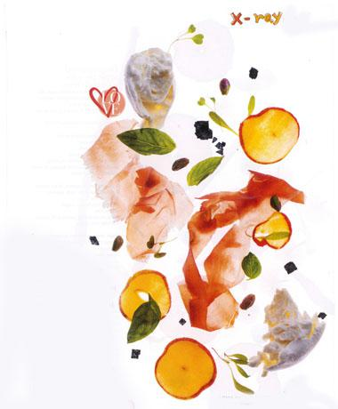Parma ham and nectarine salad with toasted pistachios and mozzarella
