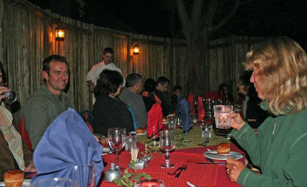 Chatting over dinner at Tanda Tula Safari Camp