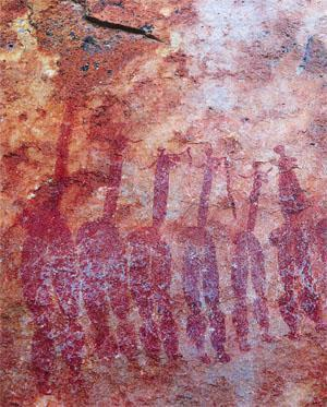 The voluptuous dancing ladies are at Site 6 on the Sevilla Rock Art Trail.
