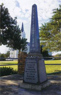 A memorial to those who died in the most southerly skirmish of the Anglo-Boer War in 1901 stands in Heidelberg's main road