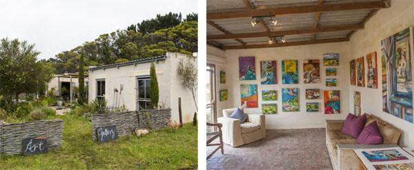 Amanda Jephson's studio and gallery is on : A lot of Amanda Jephson's paintings are their farm in the low foothills of the ' colourful, fun filled studies that leave you Assegaaibos Kloof. with a spring in your step.