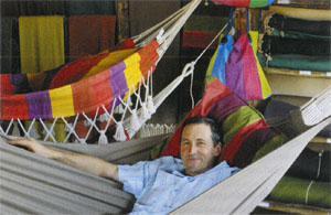 Graeme Joffe takes it easy in one of his heavenly hammocks