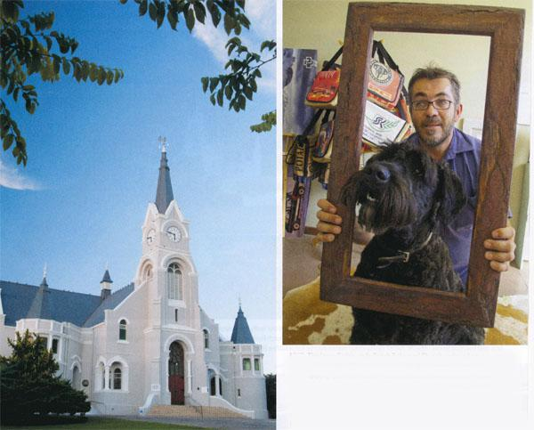 The large Gothic-style Dutch Reformed Church replaced an older building when it became too small forthe growing congregation of Heidelberg.  Boaz the Bouvier Beauty is captured by Fresh Frames's Pierre Oosthuizen, who frames most of the artworks produced by this talented community