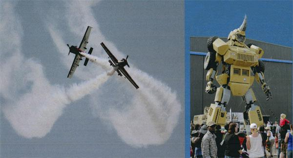 "The Cirrus Aerobatic Team gets spectators' adrenal glands pumping with what can only be described as a near miss. Paramount Group's Parabot ""transformer"" robot - a 1-ton hulk towering 10 metres over onlookers and based on the company's Mbombe 6 armoured vehicle - was designed to highlight the fight against poaching in Southern Africa)"