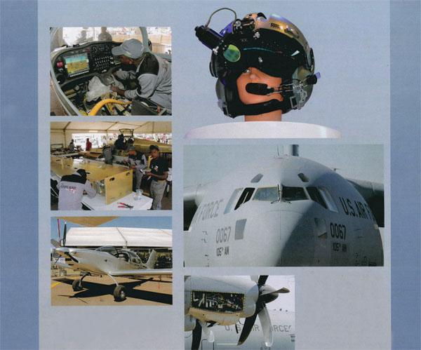 The Paramount Group's innovative helmet-mounted avionics system. The Airplane Factory impressed spectators by taking just four days during the show to build a Sling light sport aircraft from scratch and then get it airborne. T The two US Air Force big- bird offerings, the Boeing C17 (above) and Hercules C130 (left), fascinated spectators who took the time to venture inside.