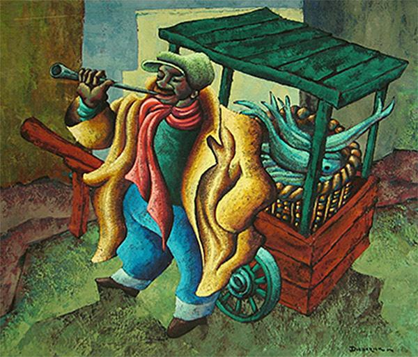 George Diederick During (1917–1991),  The Snoek Seller, mixed media on cardboard,  Sanlam Art Collection.