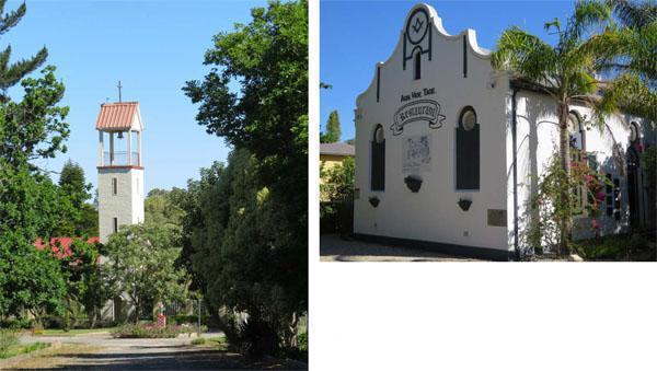 Capuchin Convent at Kleinrivier outside of town  La Belle Alliance, a family run restaurant since 1998 on the bank of the Koomlands River, This historic building was formerly a Masonic lodge with some symbols still visible.