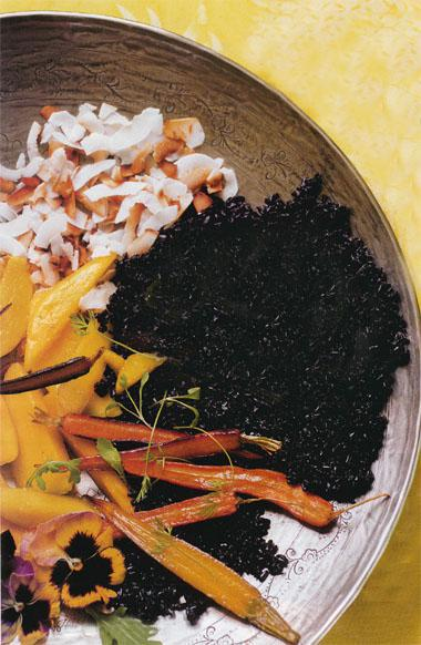 Black pilau rice with mango and toasted coconut