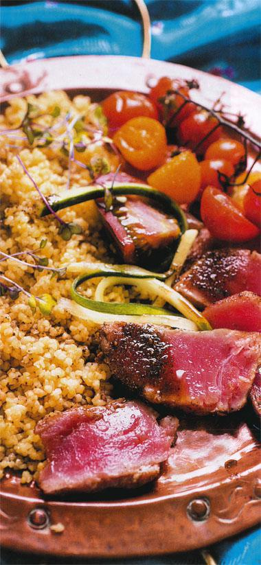 Garam masala pan seared tuna with bulgur wheat and roasted tomatoes