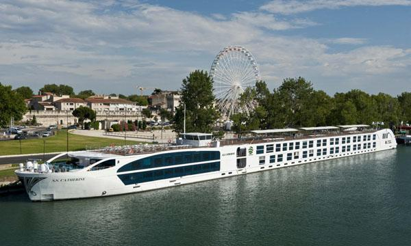 The Catherine moored on the Rhone River in Avignon