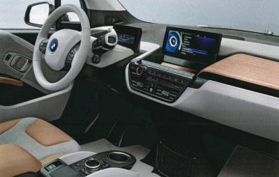 The interior of the future 2015 BMW i3 The i3 includes a lot of groundbreaking technology, but it'll be best remembered for its stunning interior. The hybrid's cabin looks like a designer's fantasy sketch: The dashboard's thick sweep of eucalyptus pours into the freestanding steering column, and the sleek seats are available with recycled upholstery. If this is the future, it looks great.